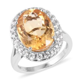 Citrine (Ovl 8.50 Ct), Natural White Cambodian Zircon Ring in Rhodium Overlay Sterling Silver 10.150 Ct.