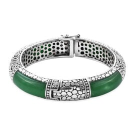Royal Bali Collection 98 Ct Green Jade Ethenic Bangle in Sterling Silver 54 Grams 7.25 Inch