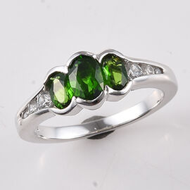 1.17 Ct Russian Diopside and Zircon Trilogy Ring in Platinum Plated Silver