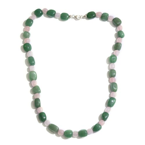 Green Aventurine and Rose Quartz Necklace (Size 20) in Sterling Silver 216.000 Ct.