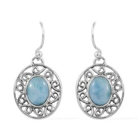 Artisan Crafted Larimar (Ovl) Hook Earrings in Sterling Silver 4.070  Ct.
