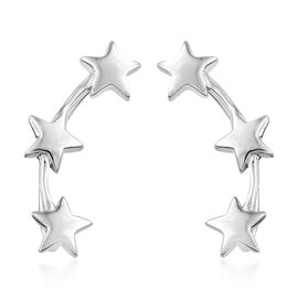 Platinum Overlay Sterling Silver Star Climber Earrings, Silver wt 4.21 Gms.