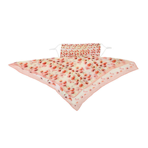 2 in 1 Flower Pattern 100% Mulberry Silk Scarf and Protective Face Covering in Peach and Multi Colour (Size 40x40 Cm)