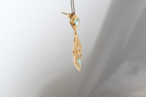 Grandidierite Dangling Earrings (With Push Back) in 14K Gold Overlay Sterling Silver 1.14 Ct.