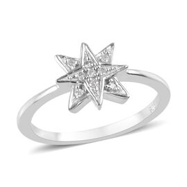 Diamond Starburst Ring in Platinum Overlay Sterling Silver