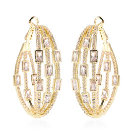 Simulated Diamond Earrings (with Clasp) in Yellow Gold Tone