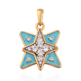 Natural Cambodian Zircon Enamelled Star Pendant in 14K Gold Overlay Sterling Silver 0.50 Ct.