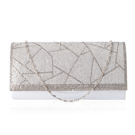 Silver Satin with White and Grey Crystal Clutch (Size 21x10.5x4.5 Cm)