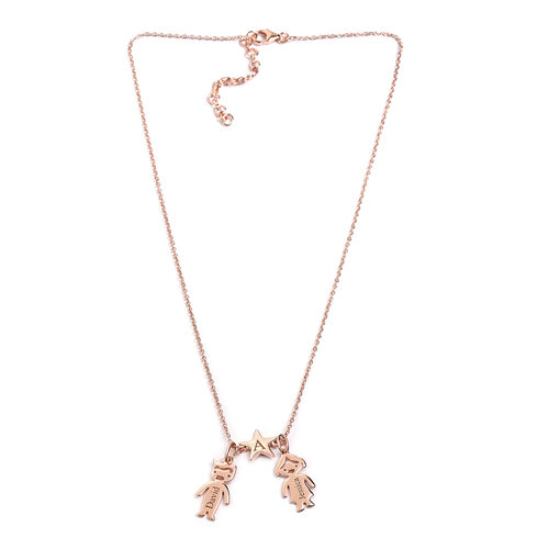 Personalise Name Engravable Boy & Girl Necklace with Initial Star, Size 20 Inch