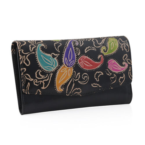 100% Genuine Leather Black Colour Handpainted Paisley Pattern Wallet with RFID Blocking (Size 21x12 Cm)