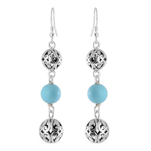 Royal Bali Collection - Arizona Sleeping Beauty Turquoise Hook Earrings in Sterling Silver 10.00 Ct,