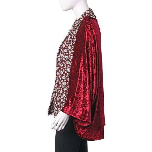 Wine Red, White and Multi Colour Flower Pattern Bat Sleeve Kimono (Free Size)