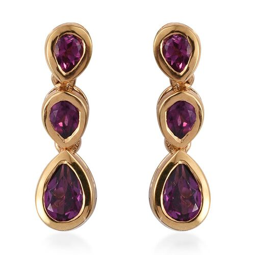 Rare Mozambique Grape Colour Garnet (Pear) Earrings (with Push Back) in 14K Gold Overlay Sterling Silver 1.750 Ct.