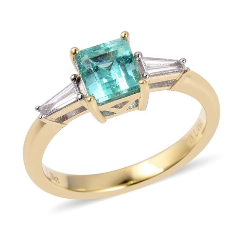 ILIANA 18K Yellow Gold AAA Boyaca Colombian Emerald (Oct) Diamond (SI/G-H) Trilogy Ring 1.700 Ct.