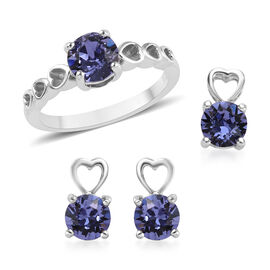 J Francis - Set of 3 - Crystal from Swarovski Tanzanite Colour Crystal (Rnd) Solitaire Ring, Earring