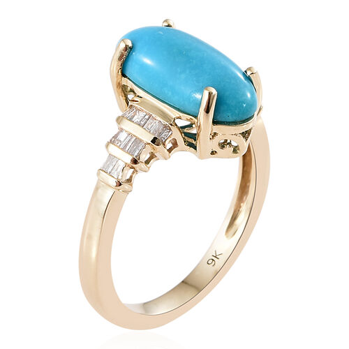 9K Yellow Gold AAA  Arizona Sleeping Beauty Turquoise (Ovl), Diamond Ring 3.000 Ct