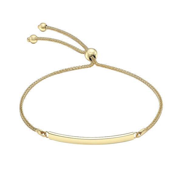 9CT Gold Bar, Adjustable Bracelet, Size 9.5 Inch