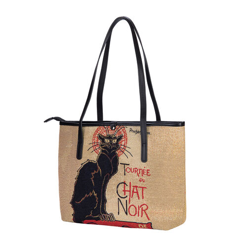 Signare Tapestry - Tournee Du Chat Noir Artwork Tote Bag (Yellow) with Dark Blue Scarf