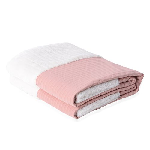 Matt Sateen Woven Quilted Blanket with Faux Fur Border in Dusky Pink Colour (150x200 cm)