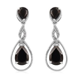3.25 Ct Elite Shungite and Zircon Drop Earrings in Platinum Plated Silver