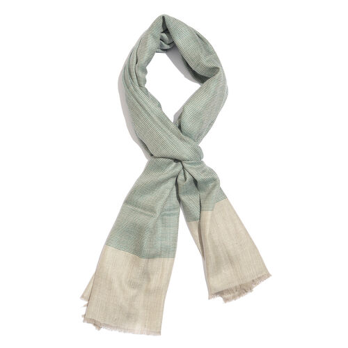 100% Cashmere Wool Lucite Green and Cream Colour Scarf with Fringes (Size 200X70 Cm)