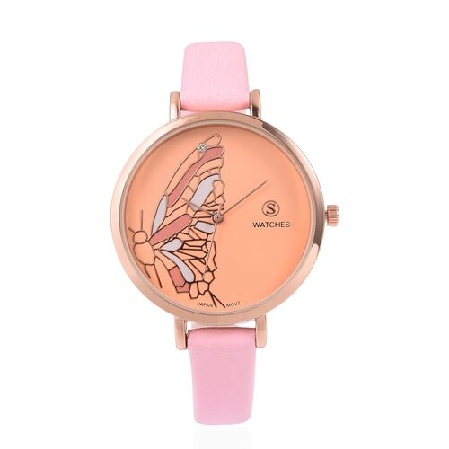 STRADA Japanese Movement White Austrian Crystal Studded Butterfly Water Resistant Watch with Pink Co