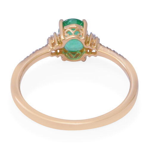 9K Yellow Gold Zambian Emerald and Natural Diamond Ring