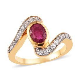 African Ruby (Ovl), Natural Cambodian Zircon Bypass Ring in 14K Gold Overlay Sterling Silver 1.25 Ct