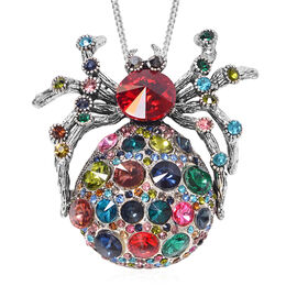 Simulated Multicolour Gemstone (Rnd), Austrian Multicolour Crystal Spider Brooch or Pendant With Cha