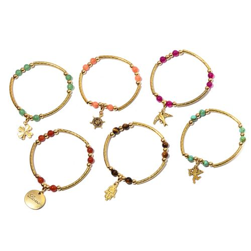 Set of 6 Tigers Eye, Red Agate, and Multi Gem Stone Bracelet with Charms in Gold Plated 30.000  Ct