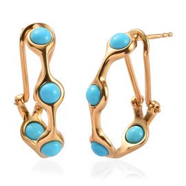 Arizona Sleeping Beauty Turquoise Earrings (with Clip Lock) in 14K Gold Overlay Sterling Silver 2.25