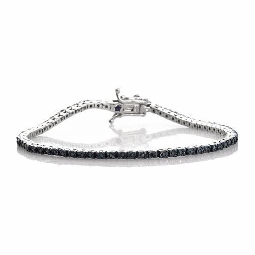 GP Blue Diamond (Rnd), Kanchanaburi Blue Sapphire Bracelet (Size 7.5) in Platinum Overlay Sterling Silver 0.350 Ct. Silver wt. 7.27 Gms.