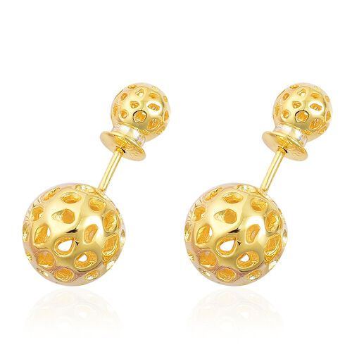 RACHEL GALLEY Yellow Gold Overlay Sterling Silver Globe Stud Earrings (with Push Back), Silver wt 4.34 Gms.