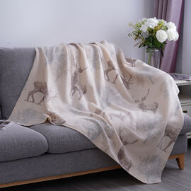Deer Pattern Fleece Printed Blanket with Horse Stitching (Size: 130x170cm)