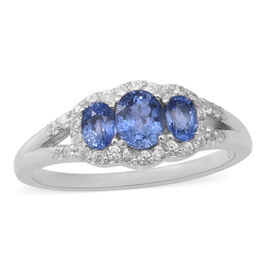 Ceylon Sapphire and Natural Cambodian Zircon Ring in Rhodium Overlay Sterling Silver 1.30 Ct.