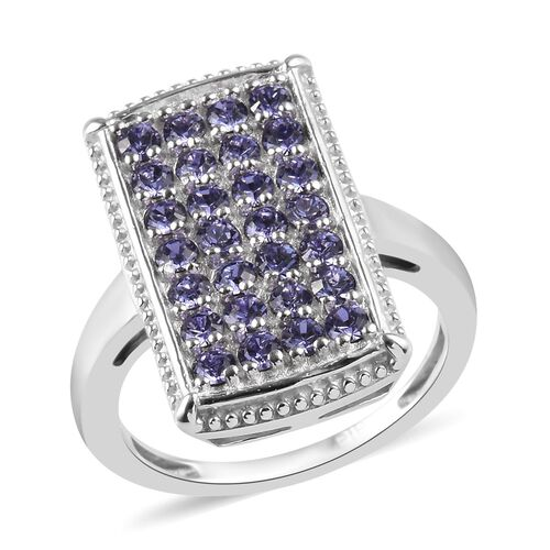 J Francis - Crystal from Swarovski Tanzanite Colour Crystal Cluster Ring in Silver Tone