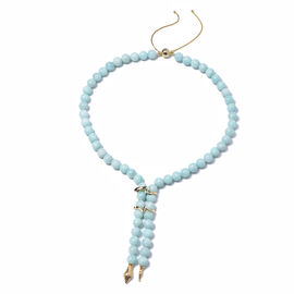 Russian Amazonite Snake Beads Necklace (Size 20) in Yellow Gold Overlay Sterling Silver with Magneti