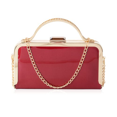 Boutique Collection High Glossed Burgundy Clutch with Crystal Embellished and Removable Chain Should