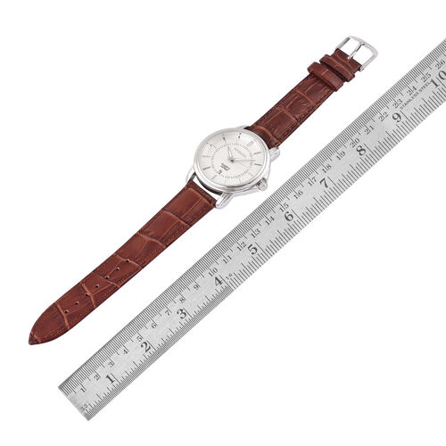 STRADA Japanese Movement White Dial Watch in Silver Tone with Stainless Steel Back and Chocolate Colour Genuine Leather Strap