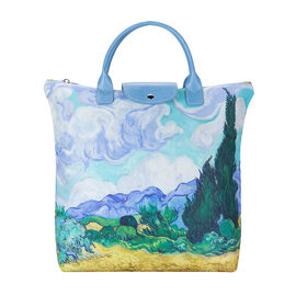 Signare Tapestry - Van Gogh Artwork Wheatfield with Cypresses Foldaway Shopping Bag (Size 30x9x36cm)