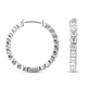 Simulated White Diamond (Rnd) Inside-Out Hoop Earrings (with Clasp) in Silver Tone 7.98 Ct.