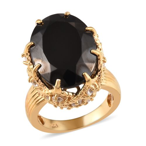 10 Ct Elite Shungite and Zircon Solitaire Ring in 14K Gold Plated Sterling Silver 7.78 Grams