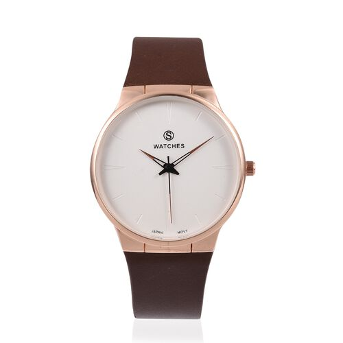 STRADA  Japanese Movement Rose Gold Plated Water Resistant Watch with Dark Brown Strap