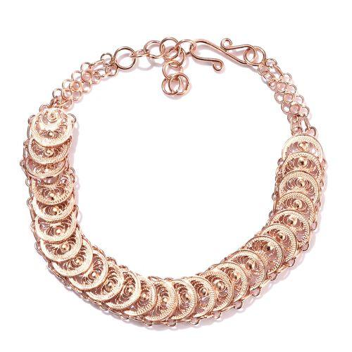 Hand Made Rose Gold Overlay Sterling Silver Bracelet (Size 7.5), Silver wt 8.86 Gms.