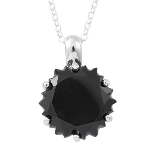 Fancy Cut Boi Ploi Black Spinel Pendant with Chain in Rhodium Plated Sterling Silver 11.500 Ct.