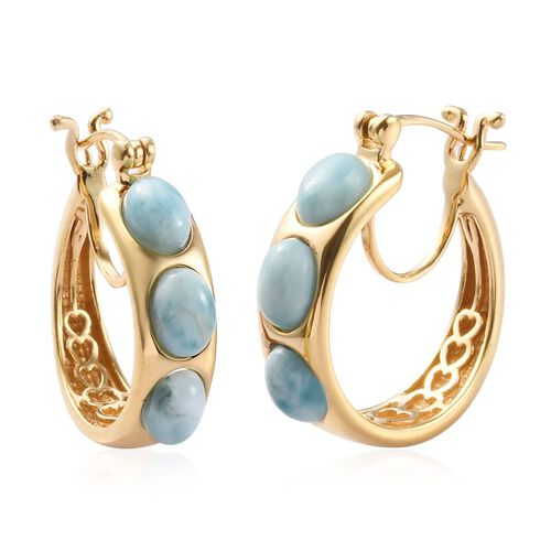 Larimar Hoop Earrings (with Clasp Lock) in 14K Yellow Gold Overlay Sterling Silver 5.75 Ct, Silver wt 8.25 Gms