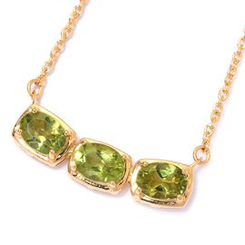 Hebei Peridot Necklace (Size 18) in 14K Gold Overlay Sterling Silver 2.25 Ct.