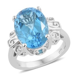 7 Carat Marambaia Topaz and Neon Apatite Solitaire Ring in Platinum Plated Silver