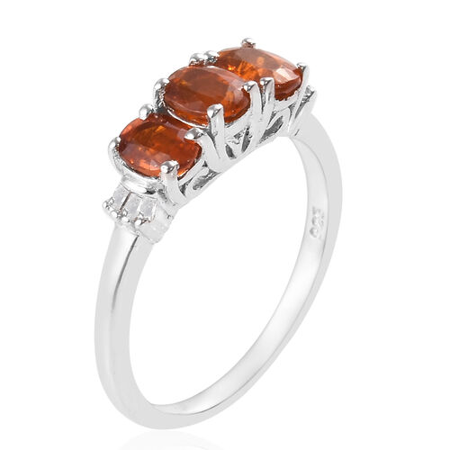 Very Rare Tanzanian Nani Hill Orange Kyanite and Diamond Ring in Platinum Overlay Sterling Silver 1.28 Ct.