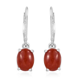 Red Jade (Ovl) Earrings (with Lever Back) in Sterling Silver 4.500 Ct.